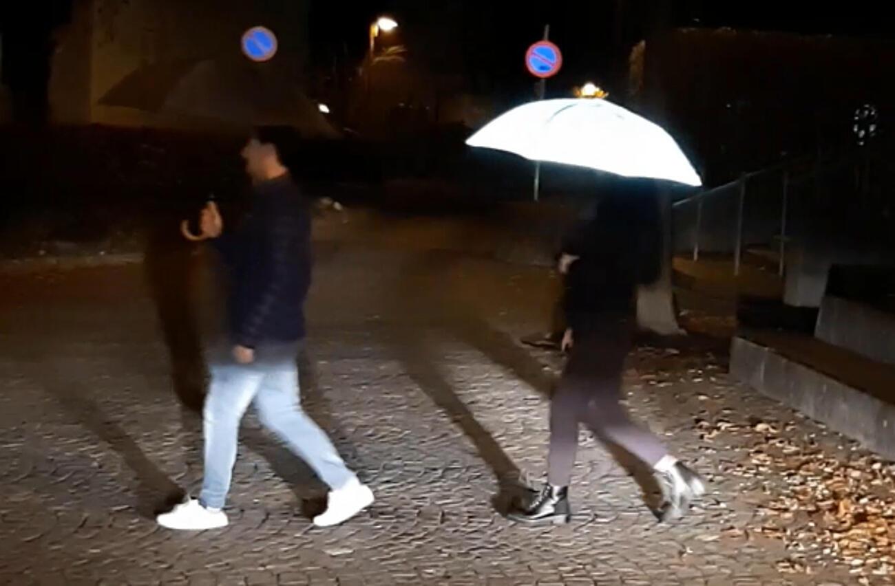 Regenschirm vollflächig reflektierend