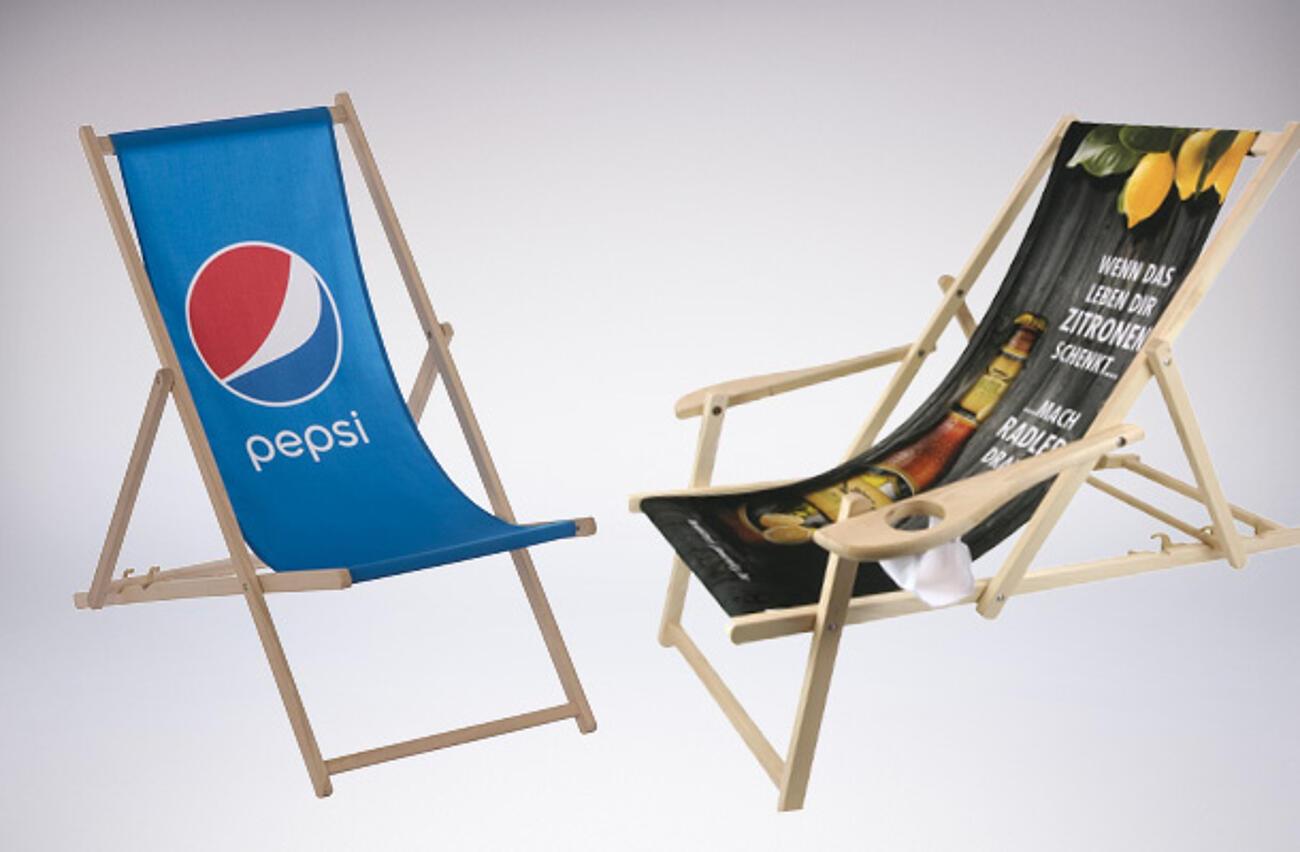 Liegestühle mit Logo und Motiv bedrucken