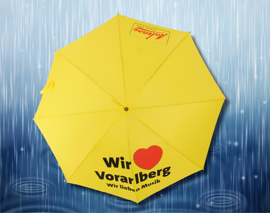 bedruckter Regenschirm als Werbeschirm von Antenne