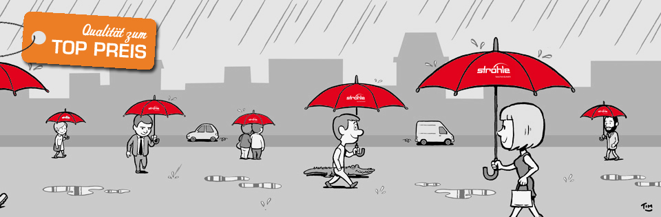 Titelbild mit bedruckten Regenschirmen