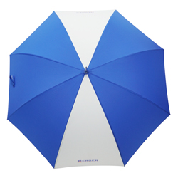Golfschirm blau-weiß mit Logo