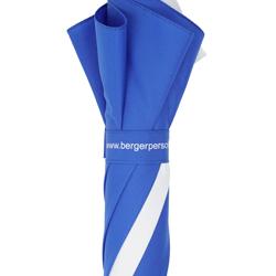 Golfschirm blau-weiß mit Schließbanddruck