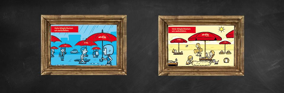 Werbeschirme zum Auffallen Comic